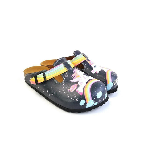 Black Colored and Rainbow, Running Unicorn Patterned Clogs - WCAL364