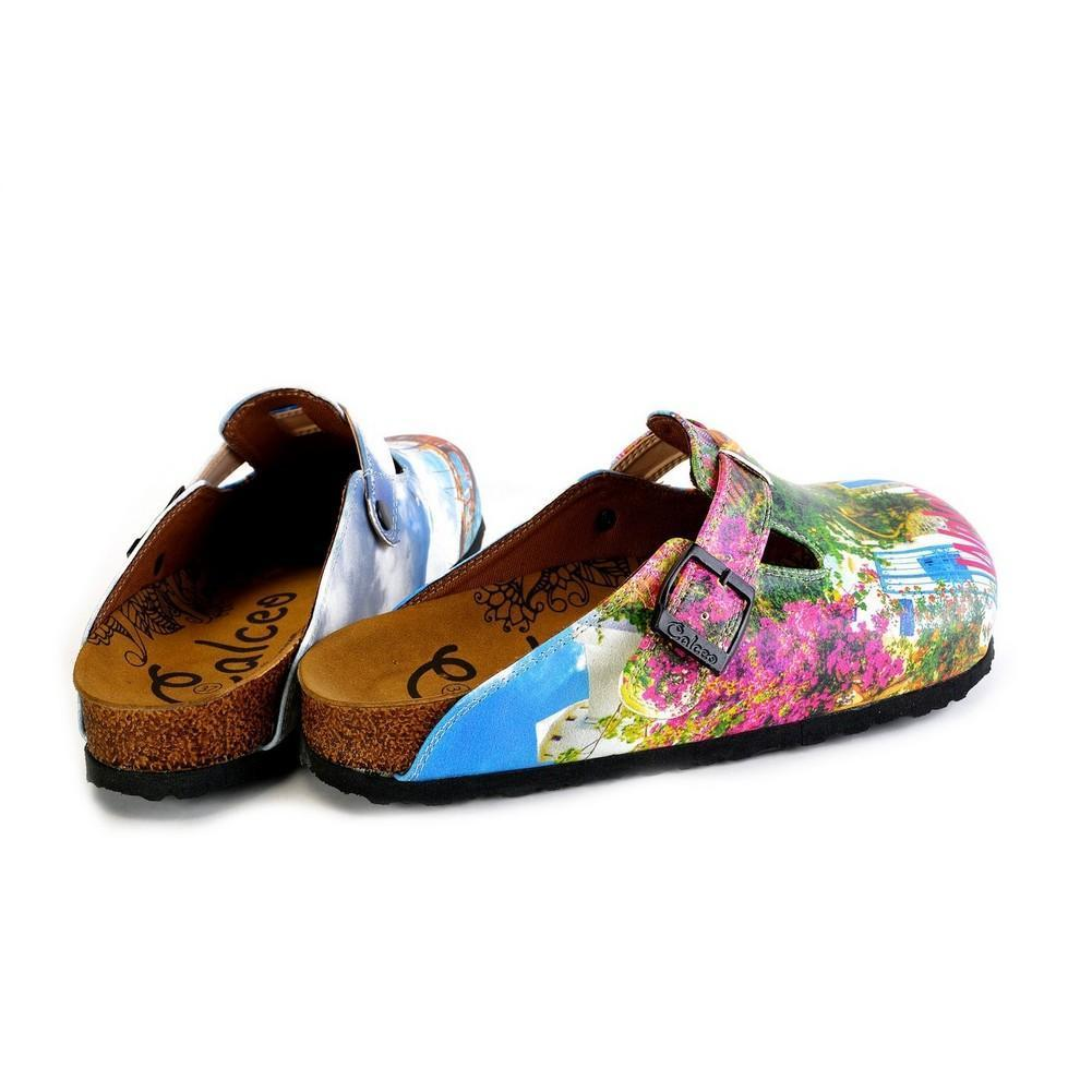 Green and Pink Colored and Flowered, Welcome Bodrum Written Patterned Clogs - WCAL368