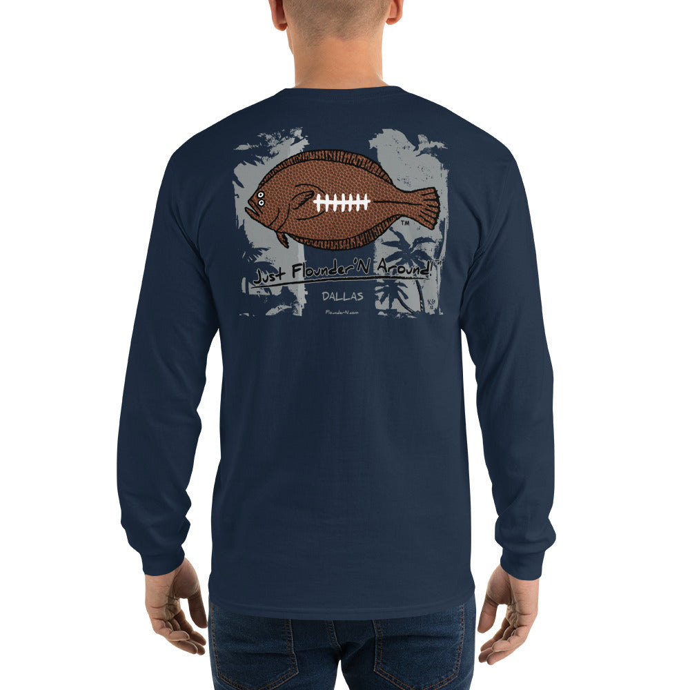 Dallas Football Flounder Mens Long Sleeve T-Shirt