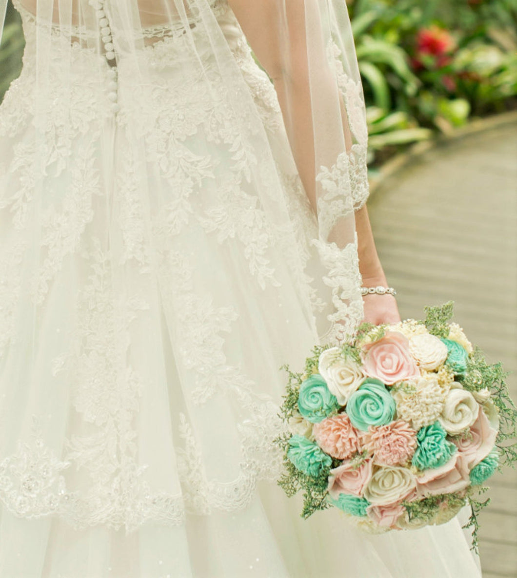 Mint, Blush Pink Sola Bouquet with option of Greenery