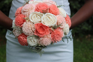 Coral and Blush Pink Sola Bouquet with option of Greenery