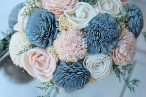 Slate Blue and Blush Pink Sola Bouquet with option of Greenery