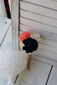 Budget Wedding Bouquets, Navy,coral Ivory Sola Bouquet, Sola bouquet