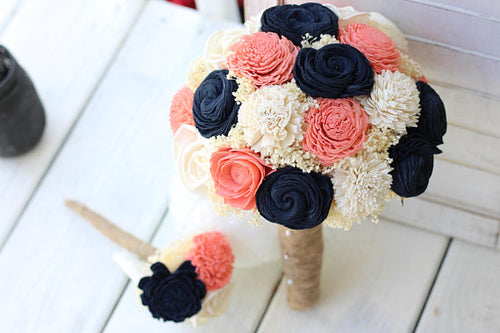 Navy Coral Ivory Sola Bouquet, Budget Wedding Bouquets