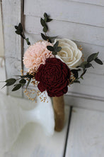 Burgundy Blush Pink Ivory Sola Wood Budget Wedding Bouquet Set