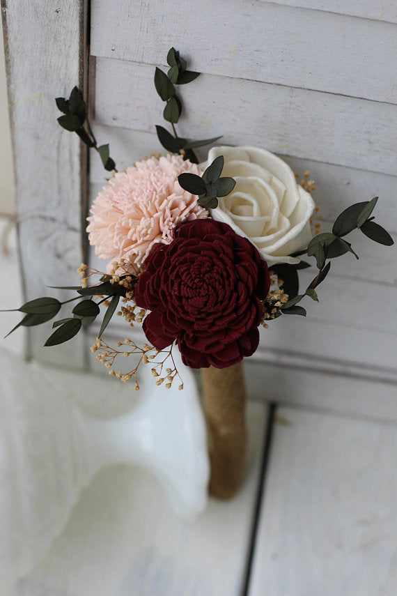 budget wedding bouquets burgundy blush pink ivory sola bouquets