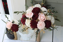 Budget Wedding Bouquets in Burgundy Blush Pink Ivory Sola Bouquets, Bouquet Set