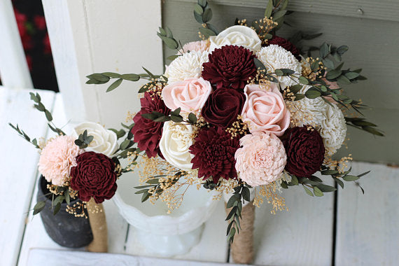 Budget Wedding Bouquets, Burgundy Blush Pink Ivory Sola Bouquets, Bouquet Set, Burgundy Bouquets