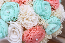 Coral and Mint Sola Wood Wedding Bouquet
