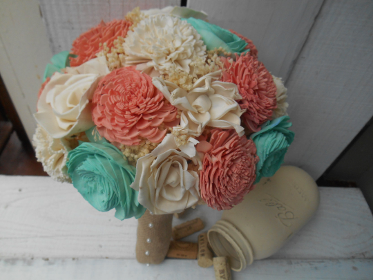 Coral Mint/Teal Sola Wood Flower Bouquet