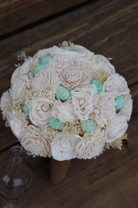 Cream and Mint Sola Wedding Bouquet