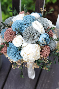 Dusty Blue and Gray Peony  Sola Wood Flower Wedding Bouquet