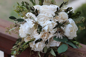 Green Sola  Wedding Bouquet, rustic woodland wedding bouquet