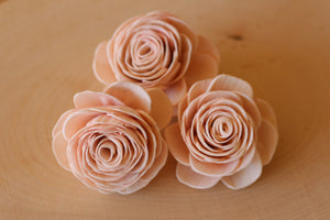 "Blush Pink Sola Wood English Rose 2"" ( Set of 12 )"