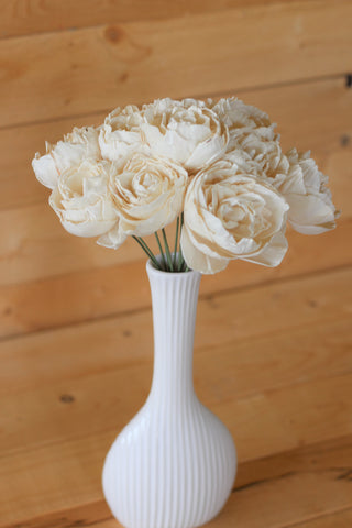 12 Stemmed Sola Wood Peony Centerpiece (Choose Your Color)