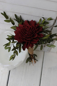 Marsala Burgundy Sola Wedding Bouquet, Rustic Wedding, Country Wedding, Budget Bouquet