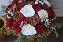 Marsala/ burgundy winter wedding sola wood flower bouquet