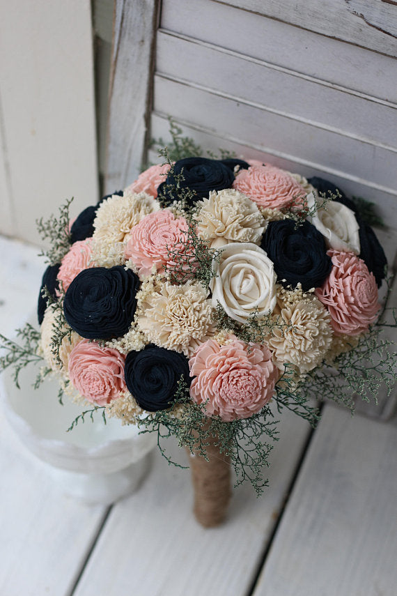 Navy Pink And Cream Sola Wedding Bouquet Sola Flower Store