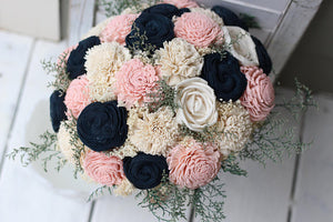 Navy, Pink and Cream Sola Wedding Bouquet