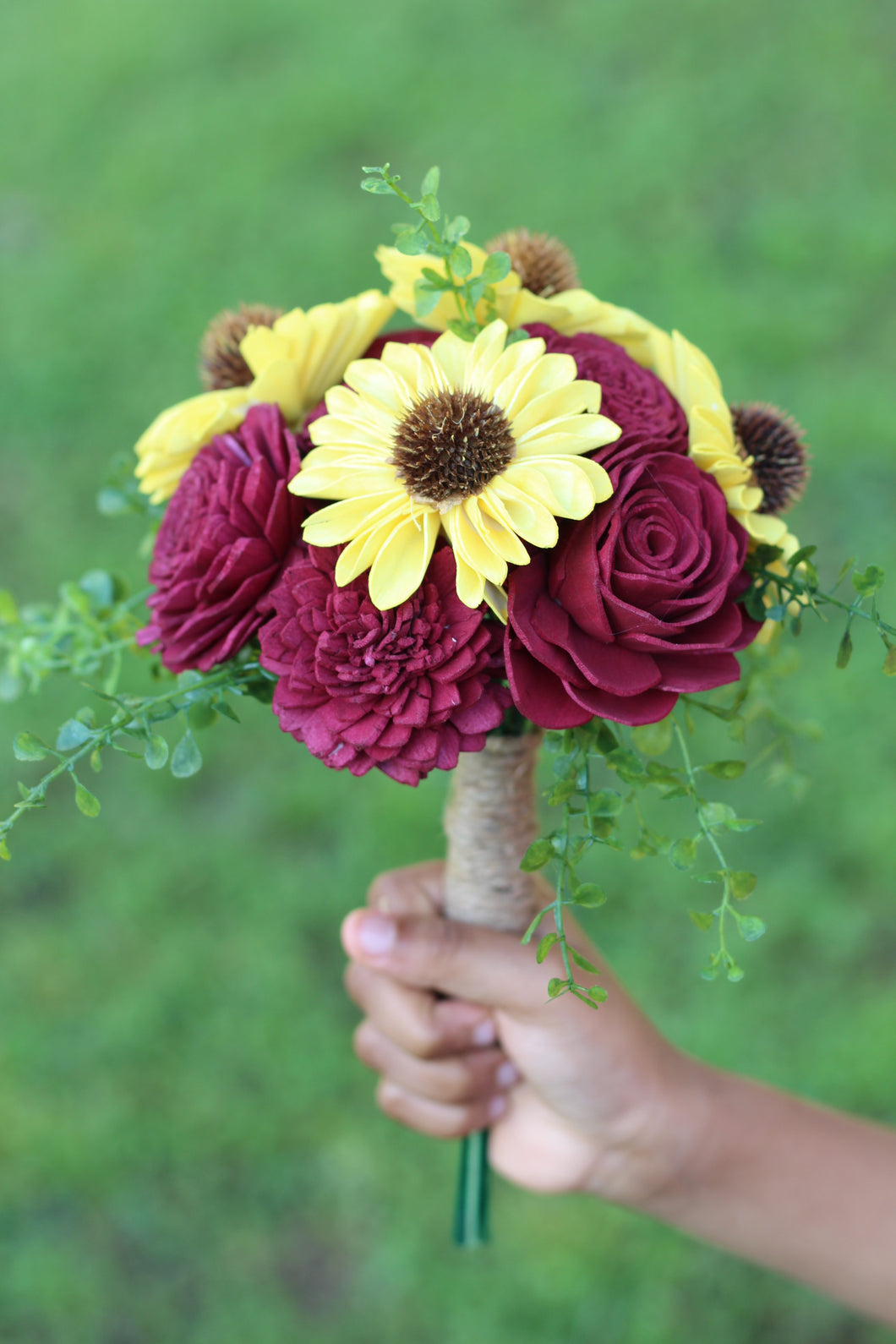 Sunflowers and Marsala Sola Wood Flower Wedding Bouquet