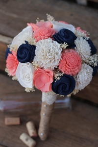 Navy Coral Sola Wedding Bouquet