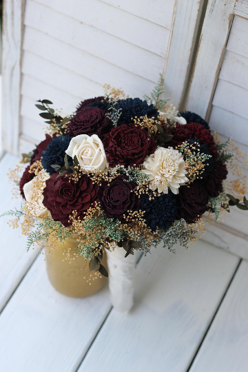 Fall Wedding Bouquets.Fall Sola Wedding Bouquet Burgundy Marsala And Plum Wedding Bouquet