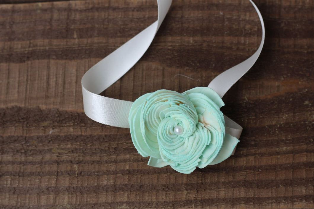 Mint Corsage, Rustic Wedding