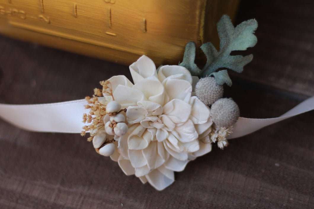 Ivory wrist corsage, Rustic Wedding, Country wedding, woodland wedding,