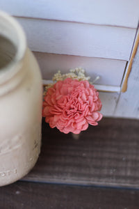 Coral Boutonniere, Rustic Wedding, Country wedding, woodland wedding, buttonhole, carnation boutonniere