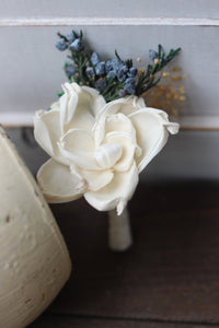 Groomsman boutonniere, groom boutonniere, corsage, sola flowers, rustic wedding, country wedding, juniper berry,  gardenia boutonniere