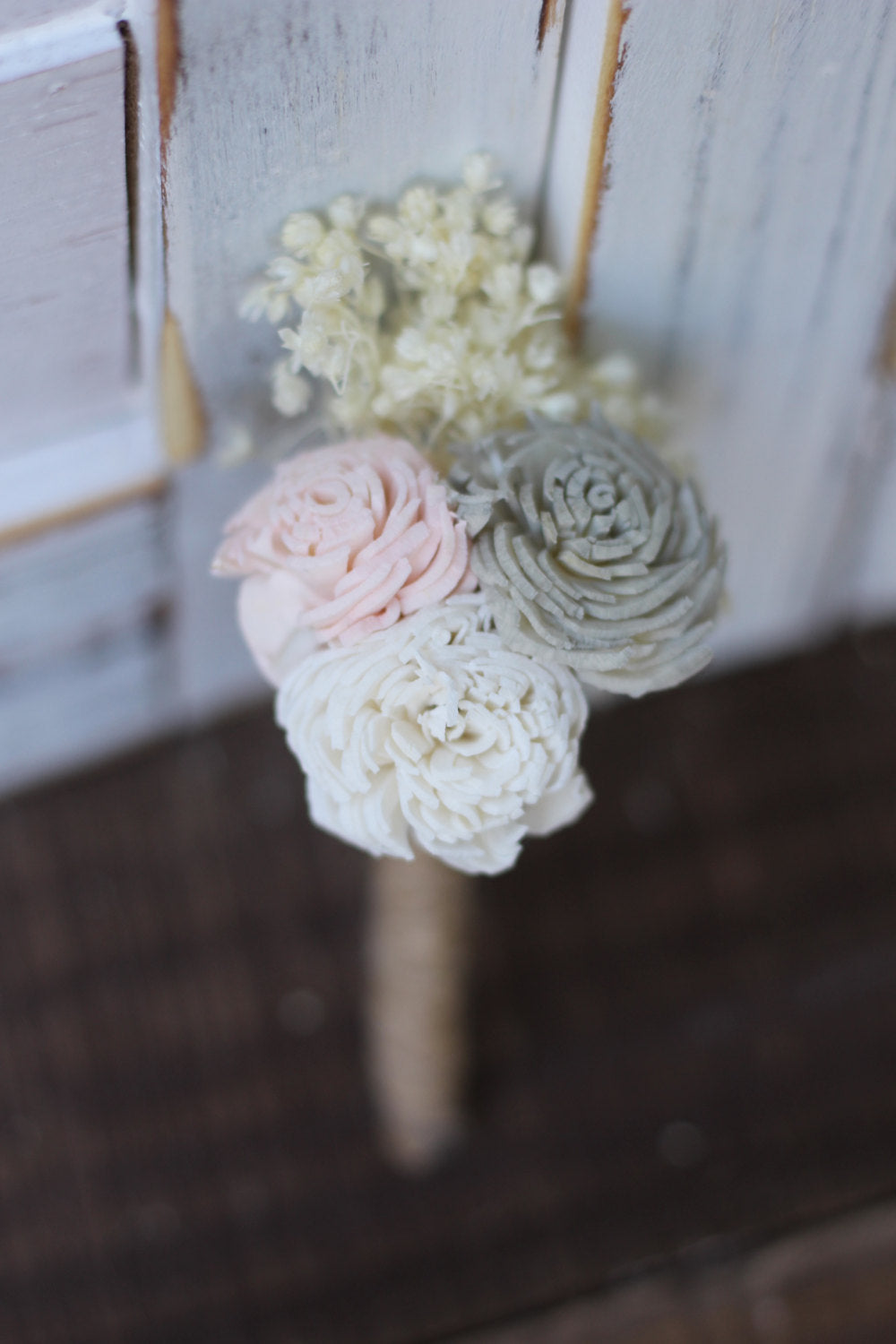 Pink, Gray, Ivory Boutonniere, groom buttonhole, groom boutonnière, sola flowers, sola boutonnière, man flower, wedding flowers