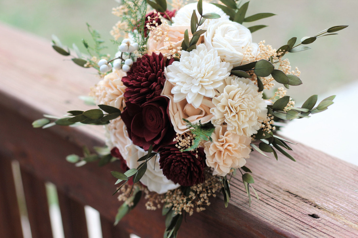 Burgundy & Peach Sola Wood Flower Wedding Bouquet, Bridal Bouquet