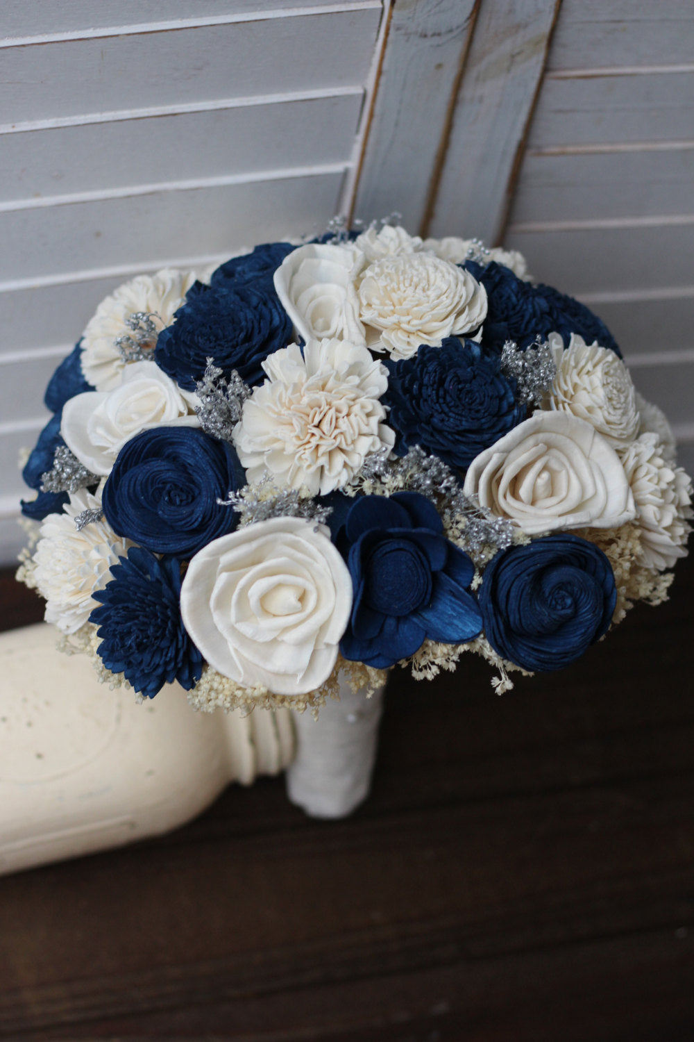 Navy Blue And Ivory Sola Wedding Bridal Bouquet Blue Silver Bouquet Solaflowerstore