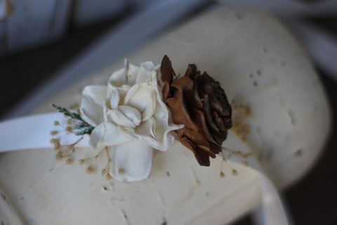 Wrist corsage, Rustic Wedding, Country wedding, woodland wedding, cedar rose wrist corsage