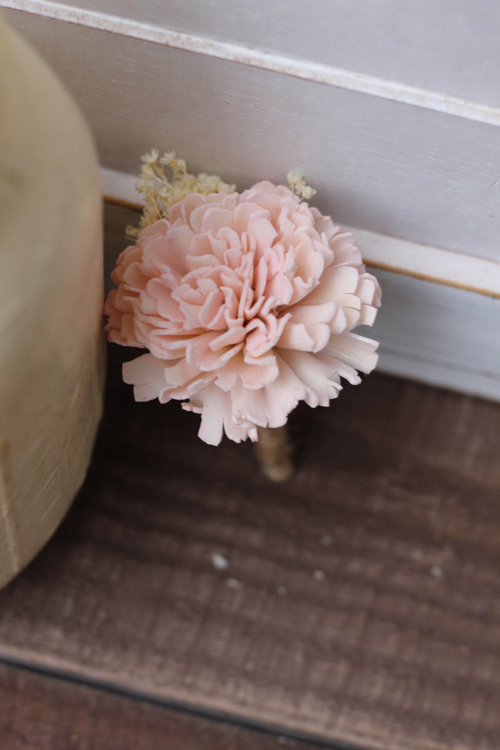 Groomsman boutonniere, groom boutonniere, sola flowers, rustic wedding, country wedding, blush pink boutonniere, blush wedding
