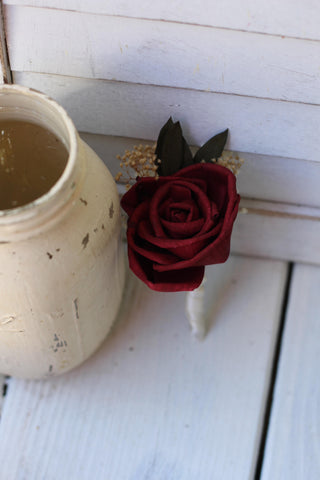 Marsala Burgundy Boutonniere, Rustic Wedding, Country wedding, woodland wedding, buttonhole, Rose boutonniere