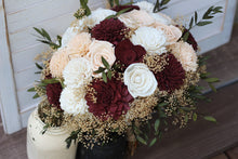 Marsala/Burgundy & Peach Sola Bouquet, Wedding Bouquet, Bridal Bouquet, Sola Flower Bouquet
