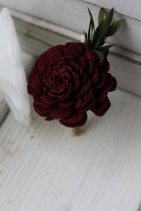 Marsala Burgundy Boutonniere, Rustic Wedding, Country wedding, woodland wedding, sola flower, wood flower, buttonhole, Groom boutonniere