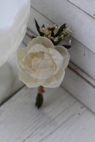 sola peony, Sola flowers,boutonniere, buttonhole, rustic, wedding flowers, rustic wedding, groomsmen, groom, groom flower
