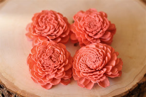 Coral Sola Wood Bali Flowers ( Set of 12 )