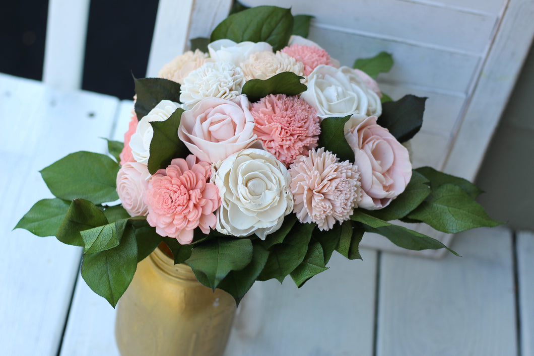 Coral Blush Pink Sola Wood Bouquet,  Coral Sola Wood Bouquet, Coral and Blush pink Bouquet, Coral, Blush Pink, and Ivory Bouquet