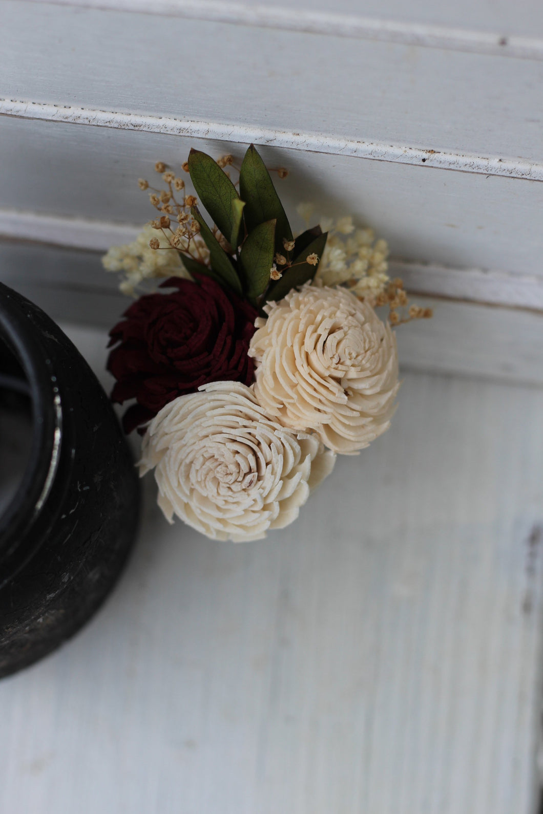 Groomsman boutonniere, groom boutonniere, sola flowers, rustic wedding, country wedding, marsala peach boutonniere, marsala groom flowers