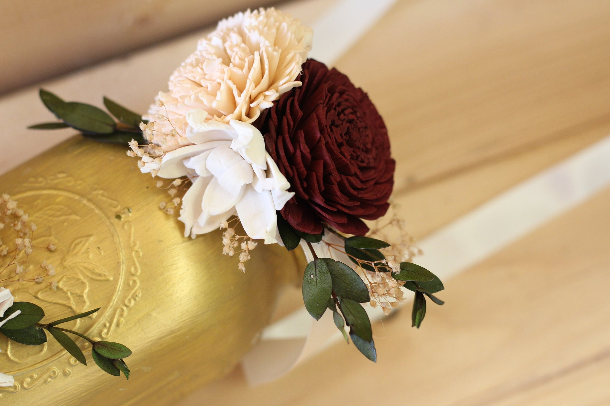 burlap corsage wrist corsage burlap rose mother of the bride Sola flower corsage wedding flowers mother of the groom
