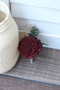 Marsala Burgundy Boutonniere, Rustic Wedding, Country wedding, woodland wedding, buttonhole, carnation boutonniere, carnation buttonhole