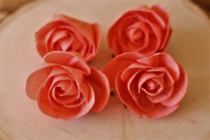Coral Love Rose  Sola Wood Flowers (Set of 12)