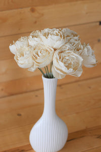 12 Stemmed Sola Wood Peony Flowers, Sola Flowers on Wire Stems, Centerpiece Flowers, DIY sola bouquet