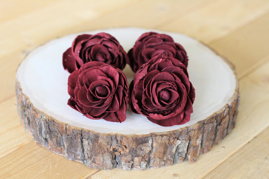 Burgundy Marsala Sola Wood Peonies ( Set of 12 )