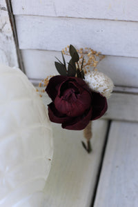 Marsala Burgundy Boutonniere, Rustic Wedding, Country wedding, woodland wedding, sola flower, wood flower, buttonhole, peony boutonniere