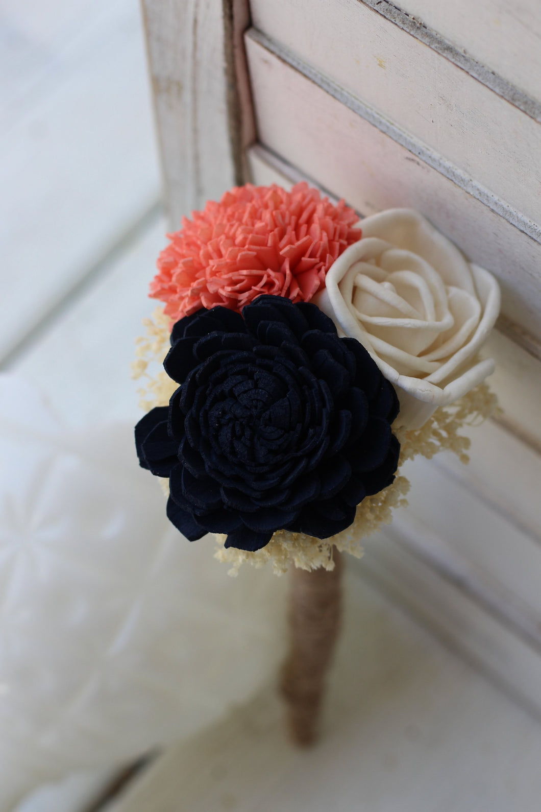 Budget Bouquet, Peti navy Bouquet, budget bridesmaid bouquet, flower girl bouquet, rustic wedding, barn wedding, bouquet, navy coral bouquet