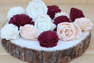 Burgundy/Marsala, Peach, White Mixed Assorted Sola Wood Flowers